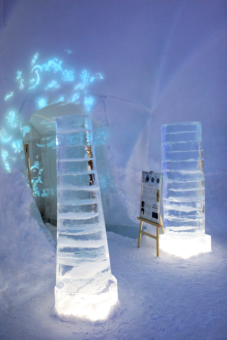two big icicle at the ice bar